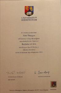 certificate of นายอรุษ ฐิตะภาส (ไอซ์)