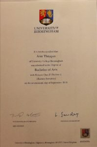 certificate of Arut Thitapas (Ice)