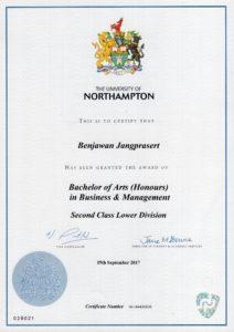 certificate of Benjamin Jangprasert (Mine)