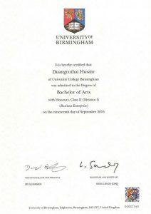 certificate of Duanghathai Husen (Namfon)