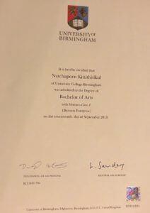 certificate of นางสาวณัชชาพร กิตติฐิติกุล (ซินดี้)