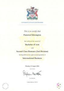 certificate of นายภานุวัฒน์ ครองตน (เปรม)