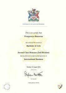 certificate of นางสาวปราณปรียาภ์ บุณาวรรฒ์ (เบส)