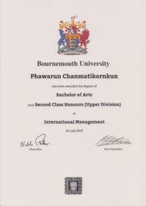 certificate of นางสาวภวรัญชน์ จันมาธิกรกุล (ป้อ)