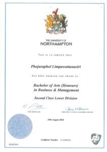 certificate of Phojaraphol Limpawattanasiri (Peach)