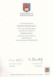 certificate of Supatcha Suriyapornparn (Lookpear)