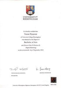 certificate of นายธีธัช ภิยโยทัย (ดิว)