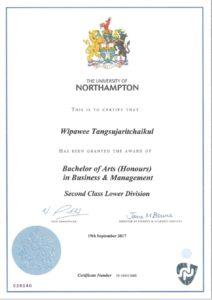 certificate of Wipawee Tangsujaritchaikul (Milin)