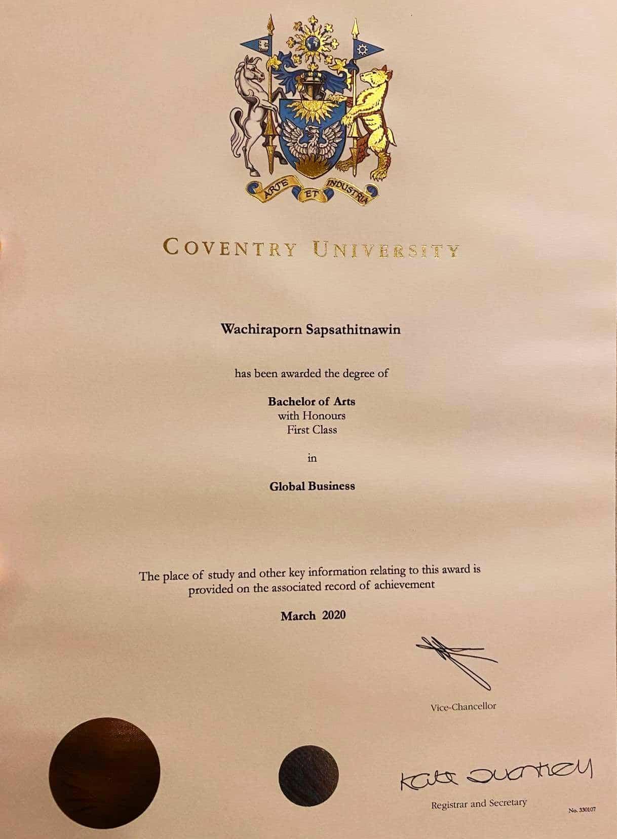 certificate of นางสาววชิราภรณ์  ทรัพย์สถิตนาวิน (ไอด้า)